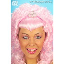 Pink Glamour W/ Strass Tiara Wig For Fancy Dress Costumes & Outfits ()