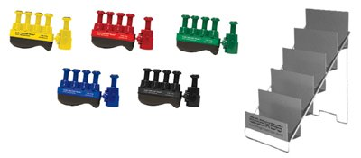 Digi-Flex Thumb - Set Of 5 (1 Each: Yellow, Red, Green, Blue, Black), With Metal Stand - 10-3786
