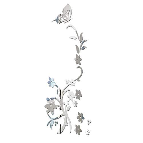 Silver Mosaic Show Quality (❤ Lemoning ❤ 3D DIY Flower Butterfly Shape Acrylic Wall Sticker Modern Stickers Decoration (Silver))