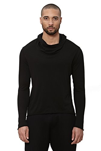 Uncommon Thrds Mens Asymmetric Hem Long Sleeve Cowl Hoodie Black - Medium by UNCOMMON THRDS