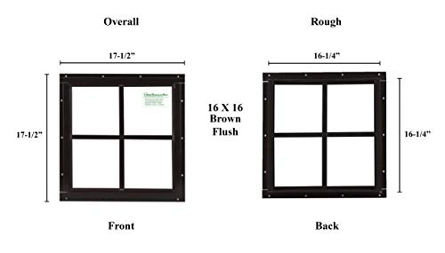 Square Shed Window 16'' X 16'' Brown Flushl, Playhouse Window by Shed Windows and More (Image #2)