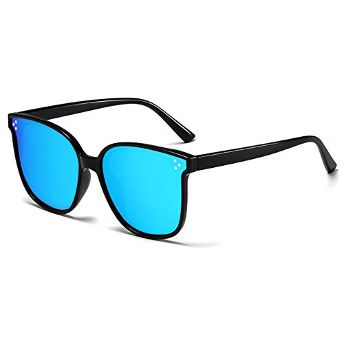 Polarized Sunglasses for Women/Men Vintage Womens Sunglasses Driving Sun Glasses Blue Mirrored Lens/Black Frame ()