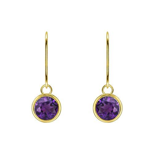 - Diamond Scotch Jewelry 2.60 Ct Simulated Amethyst Lever Back Bezel Set Solitaire Dangle Earrings for Women 14K Yellow Gold Finish