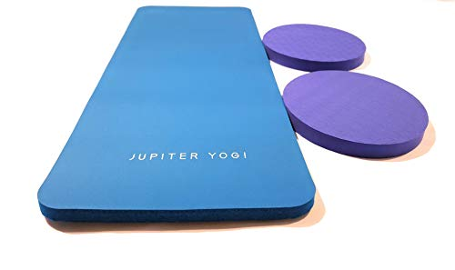 Jupiter Yogi Round and Rectangular Knee Pads Portable Elbow Pad for Yoga Floor Exercises Workout Pilates Gardening Cleaning (Workout Knee Pads)