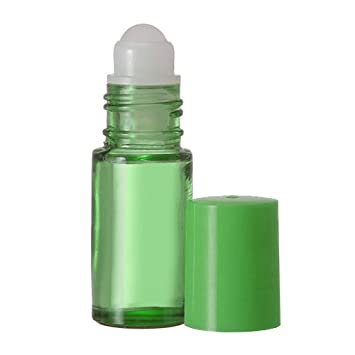 38f75bb2fdba Bargz Empty Glass Bottles - Refillable Color Roll On - Bulk - 1 Dram Pack  of 12 - Green Color