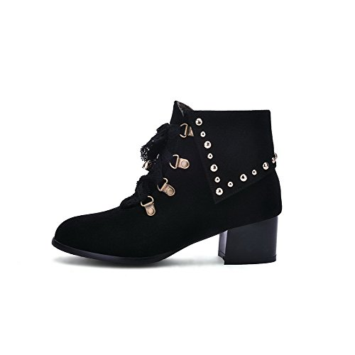 Allhqfashion Women's Frosted Lace-up Round Closed Toe Kitten Heels Low Top Boots Black 8USYu