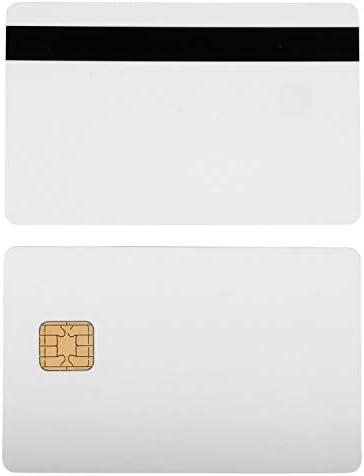 Waizmann.IDeaS® Plastikkarten Magnetkarten Blankokarten Chipkarte SLE 4442 HiCo Magnetstreifen aus PVC weiß 86 x 54 x 0,76mm glänzend laminiert bedruckbar weiß