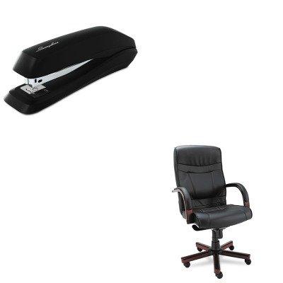 KITALEMA41LS10MSWI54501 - Value Kit - Best Madaris High-Back Knee Tilt Leather Chair w/Wood Trim (ALEMA41LS10M) and Swingline Standard Strip Desk Stapler (SWI54501) by Best