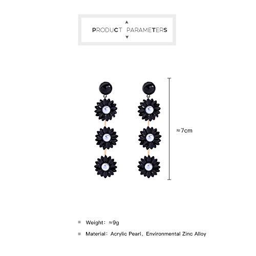 Chic Daisy Acrylic Black Flower Dangle Drop Earrings Fashion Jewelry ED01694c Miss Kiss Statement Gold Earrings