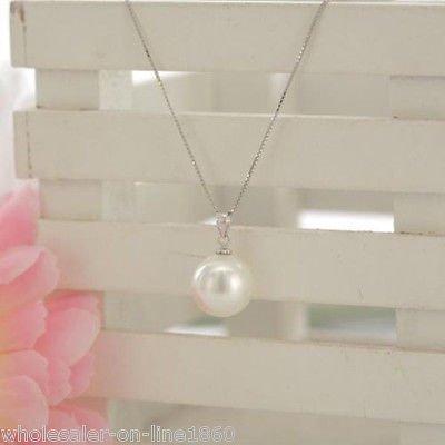 """rare white 14mm sea shell pearl pendant necklace chain 18"""" - 14mm White Shell Pearl Pendant"""