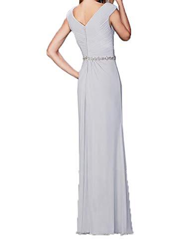 Silber Lang Elegant Ballkleider Chiffon Damen Abendkleider Abschlussballkleider Festlichkleider Charmant H7w8vqFP