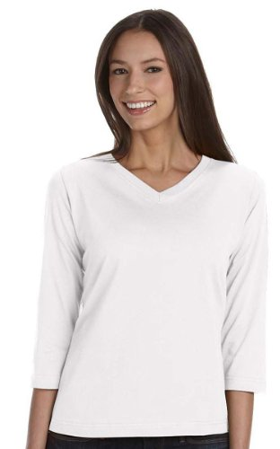 LA T Ladies' V-Neck 3/4-Sleeve T-Shirt - White - 2XL