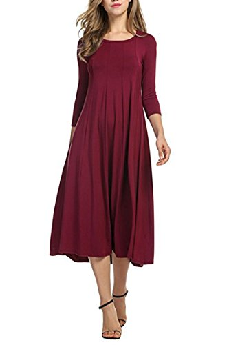 Mitario Femiego Women A-line Swing Long Sleeve Loose Maxi Casual Long Dress Wine Red L (Women For Dresses Older)