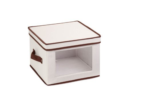 Honey-Can-Do SFT-02062 Natural Canvas Soft Storage Box, Small Window Box 10x10 ()