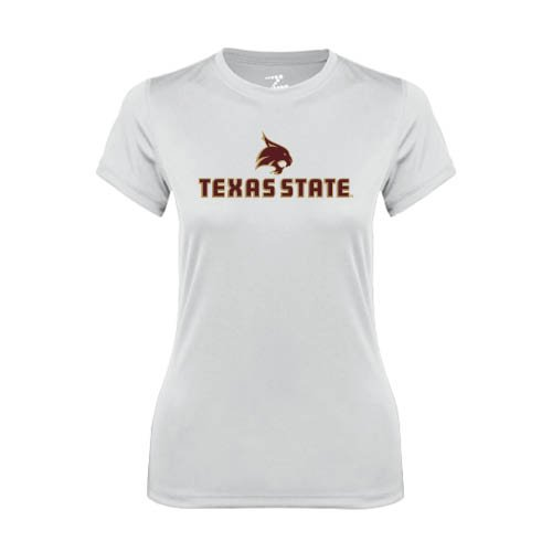 Texas State Ladies Syntrel Performance White Tee 'Texas State w/ Bobcat'