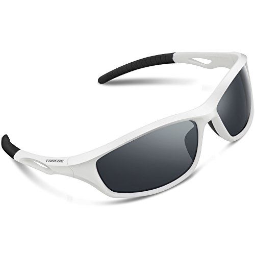 Torege Polarized Sports Sunglasses For Men Women For Cycling Running Fishing Golf TR90 Unbreakable Frame TR010-1 (White&Black Tips&Grey - Jogging For Sunglasses