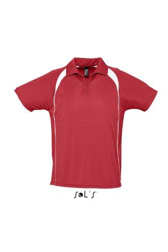 Sols - Palladium - Herren Sport Poloshirt zweifarbig , Red , XXL