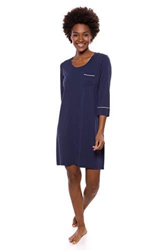 Women's Sleep Shirt 3/4 Sleeve - Classic Nightshirt for Her by Texere (Zizz, Gulf Blue, Medium) Simple Ageless Stylish Sleepwear Valentines Gift Ideas TX-WB040-004-GFBU-R-M