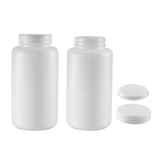 uxcell Plastic Lab Chemical Reagent Bottle 1000ml/34oz Wide Mouth Sample  Sealing Liquid Storage Container 2pcs