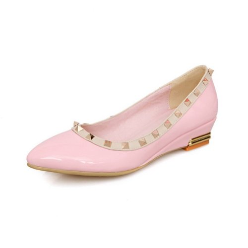 AmoonyFashion Girls Closed Pointed Toe Low Heels Patent Leather PU Solid Pumps with Rivet Pink LiMKT5