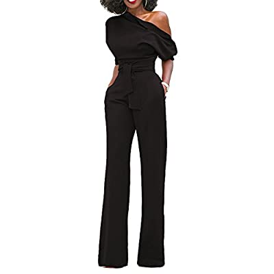Cheeryme Womens Sexy One Off Shoulder Jumpsuits Belted Loose Long Wide Leg Jumpsuit Romper