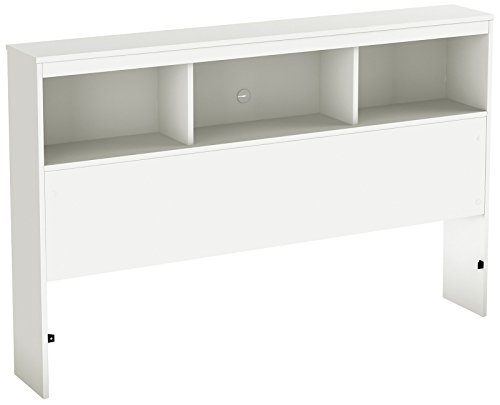 Unfinished Full Headboard - South Shore Spark Collection Full Bookcase Headboard, Pure White