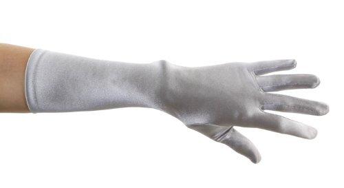 ZaZa Bridal Shiny Stretch Satin Dress Gloves Below-The-Elbow Length 8BL-Silver