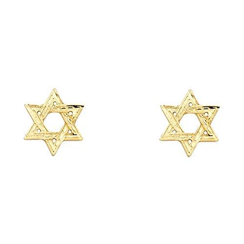 14k Yellow Gold Star of David Stud Earrings (10 X 10mm) (Gold Star Yellow Studs 14k)