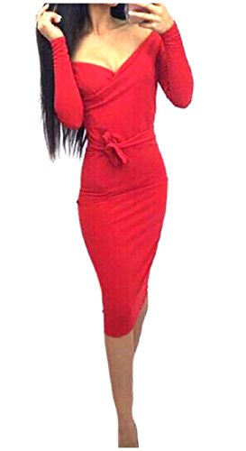Long Women Sleeve One Sexy Red Coolred Straps Dress Mid Bodycon Career V Neck Step TERUWWqxgw
