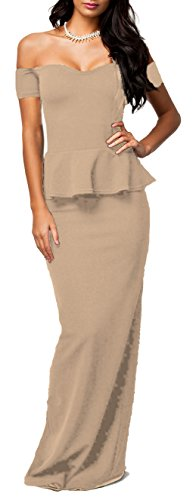 made2envy Drop Shoulder Peplum Maxi Evening Dress (L, Tan) C6244TL