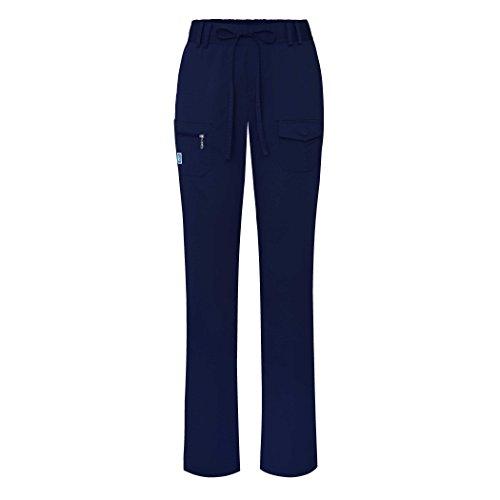 Ladies Flat Front Scrub Pants (Adar Indulgence Womens Low Rise Tapered Leg 6 Pocket Drawstring Scrub Pants - 4100P - Nvy - S)