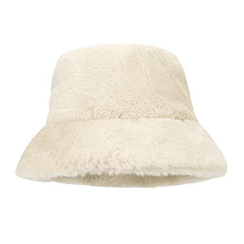 MK MATT KEELY Women Faux Fur Bucket Hat Ladies Casual Winter Warmer Fisherman Hat White