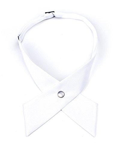 (Levao Solid Color Criss-Cross Tie, Girls' School Uniform Cross Adjustable Bowtie PB306-C White)