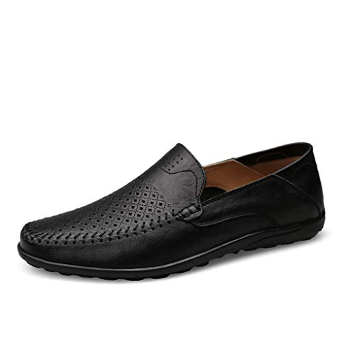 Italian Mens Shoes Casual Luxury Summer Men Loafers Genuine Leather Moccasins Comfy Breathable Slip On Boat Shoes Summer Black 6