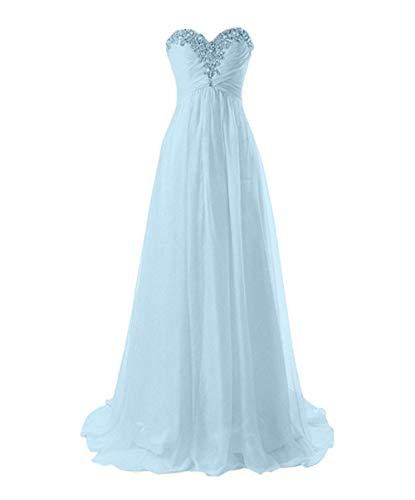 Linie Braut Herzausschnitt Partykleider Blau Abendkleider Marie La Himmel A Elegant Abschlussballkleider Steine Chiffon vq50wC