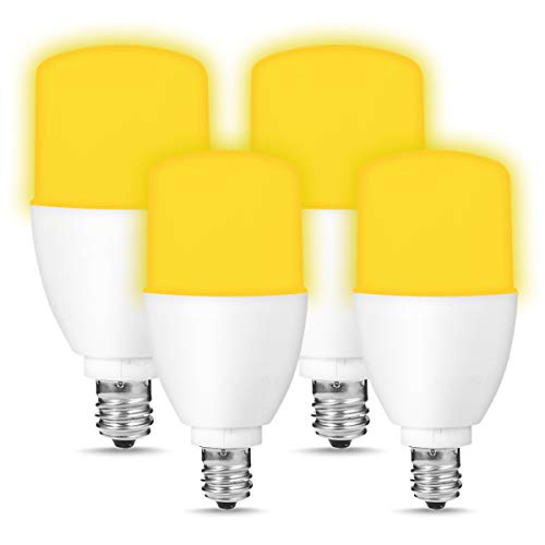 SmartinLiving Yellow Bug Light Bulbs, Warm White 2000K, E12 Candelabra Base, LED 5 Watt-40 Watt Equivalent, 450 Lumens, LED Stick Light Bulb for Indoor/Outdoor Deterring Mosquitoes, Pack of 4