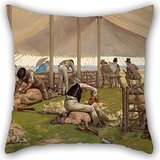 [Uloveme Pillow Covers 18 X 18 Inches / 45 By 45 Cm(twin Sides) Nice Choice For Kids Room,seat,lounge,outdoor,adults,festival Oil Painting Eyre Crowe - A Sheep Shearing] (Oriole Bird Costume)