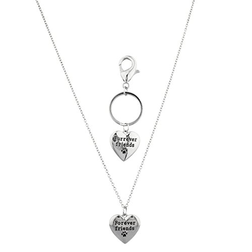 Lux Accessories Silvertone Forever Friends Dog Paw Necklace and Keychain Set 2PC