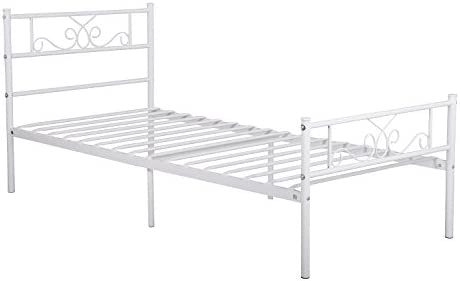 SimLife Single Bed Platform Kids Boys Adult No Box Spring Needed Princess White Twin Size Bed Frame with Headboard and Footboard Mattress Foundation 3141SK g5YL