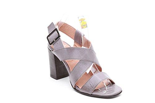 Scarpe italiane sandali tacco squadrato grigio