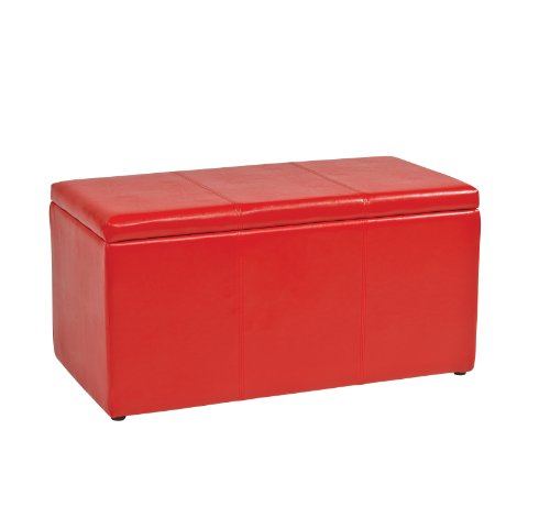 Office Star Metro 3-Piece Bench and Ottoman Cube Set in Vinyl, Red