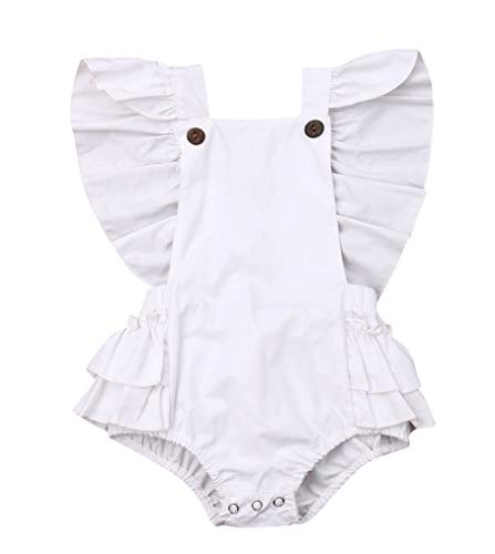 FAROOT Infant Baby Girl Bodysuit Basic Ruffled Flutter Sleeve Bubble Romper Jumpsuit Autumn Fashion Outfit Clothes (12-18 Months, White) ()