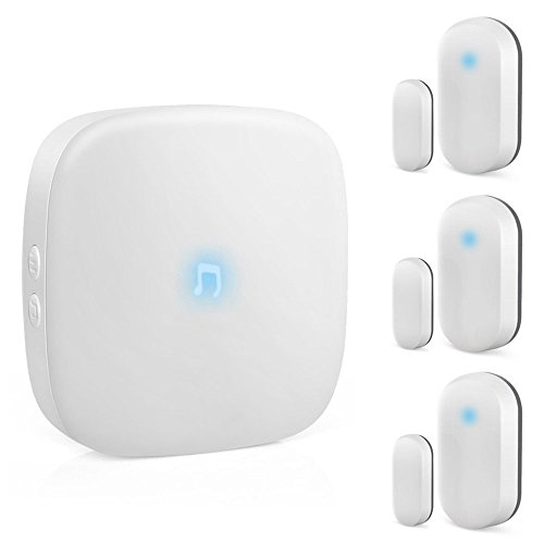 Home Security Wireless Doorbell,ELEPOWSTAR Waterproof Door bells Chime Kit Operating at 320Feet Range,No Batteries Required for Receiver over 52 Chimes,1 Receiver and 3 Magnetic Door Sensors  ()