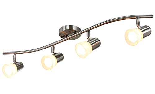 XiNBEi Lighting Track Lighting 4 Light Track Light with Alabaster Glass, Modern Track Light Bar in Brushed Nickel for Kitchen & Living Room XB-TR1213-4