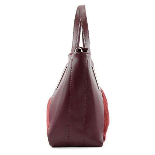 Sac Shopper Tragetasche bandoulière Wildleder de Bordeaux cuir T126 en ital Echtleder Modamoda Red à Sac qXTzwEX