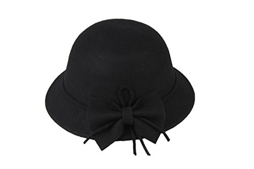 Dantiya Kids Girls Winter Warm Bucket Hats Fedoras With Belt (Black)