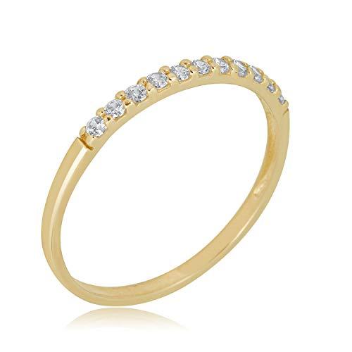 AVORA 10K Yellow Gold Simulated Diamond CZ Half Eternity Band Stackable Ring ()