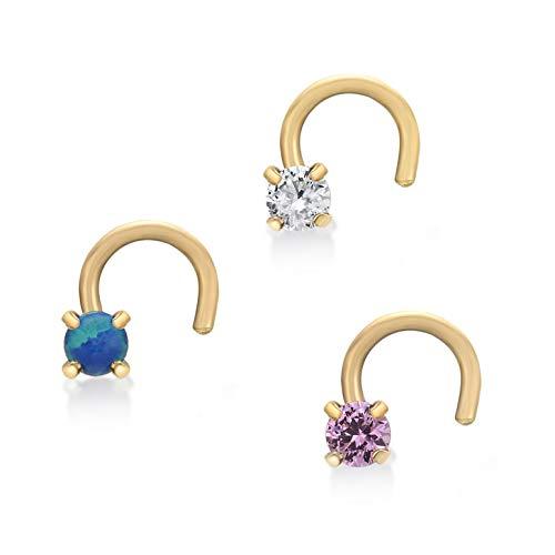 Lavari - 14K Yellow Gold Blue White Pink Cubic Zirconium Nose Ring Set ()