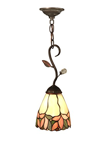 Springdale FTM10002 Crystal Leaf Tiffany Mini Pendant, Antique Golden Sand