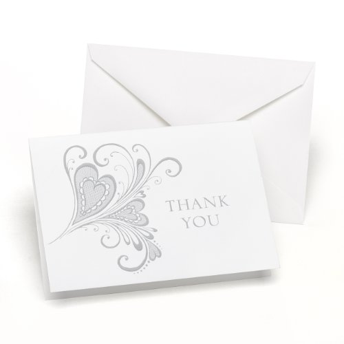 Hortense B. Hewitt Flourish Heart Thank You Cards Wedding Accessories, Set of 50